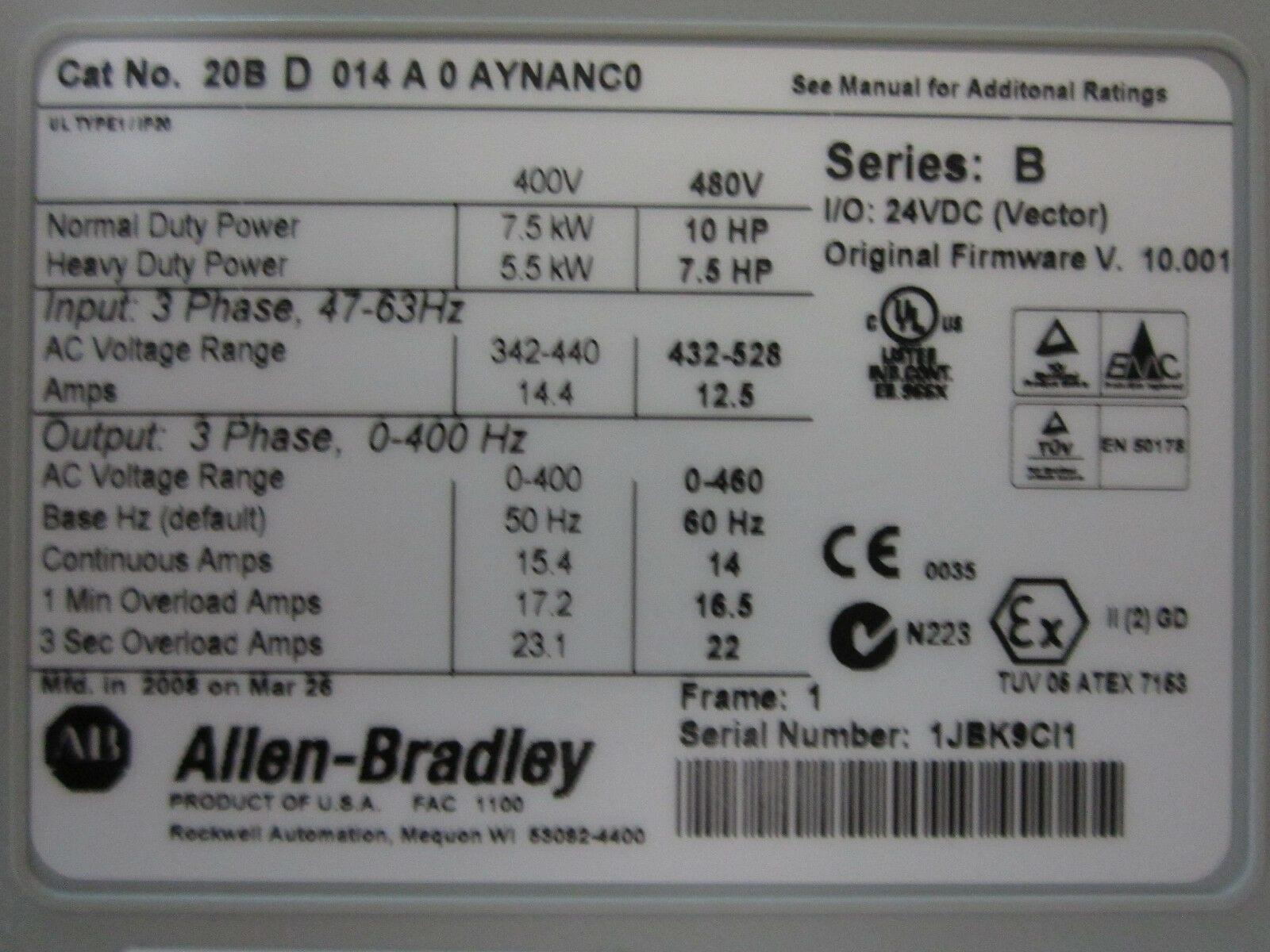 Allen Bradley 20BD014A0AYNANC0 PowerFlex 700 AC Drive 7 5KW/10HP *Never  Used*