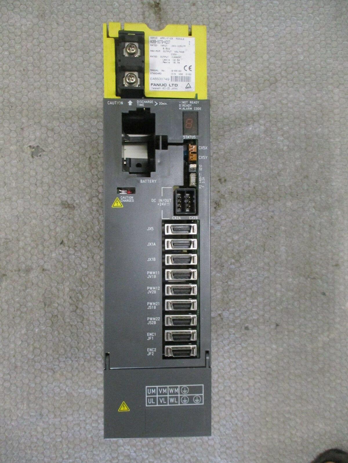 Fanuc A06B-6079-H207 Servo Amplifier module 8 5kW 230VAC Ser E *Cracked  Cover*