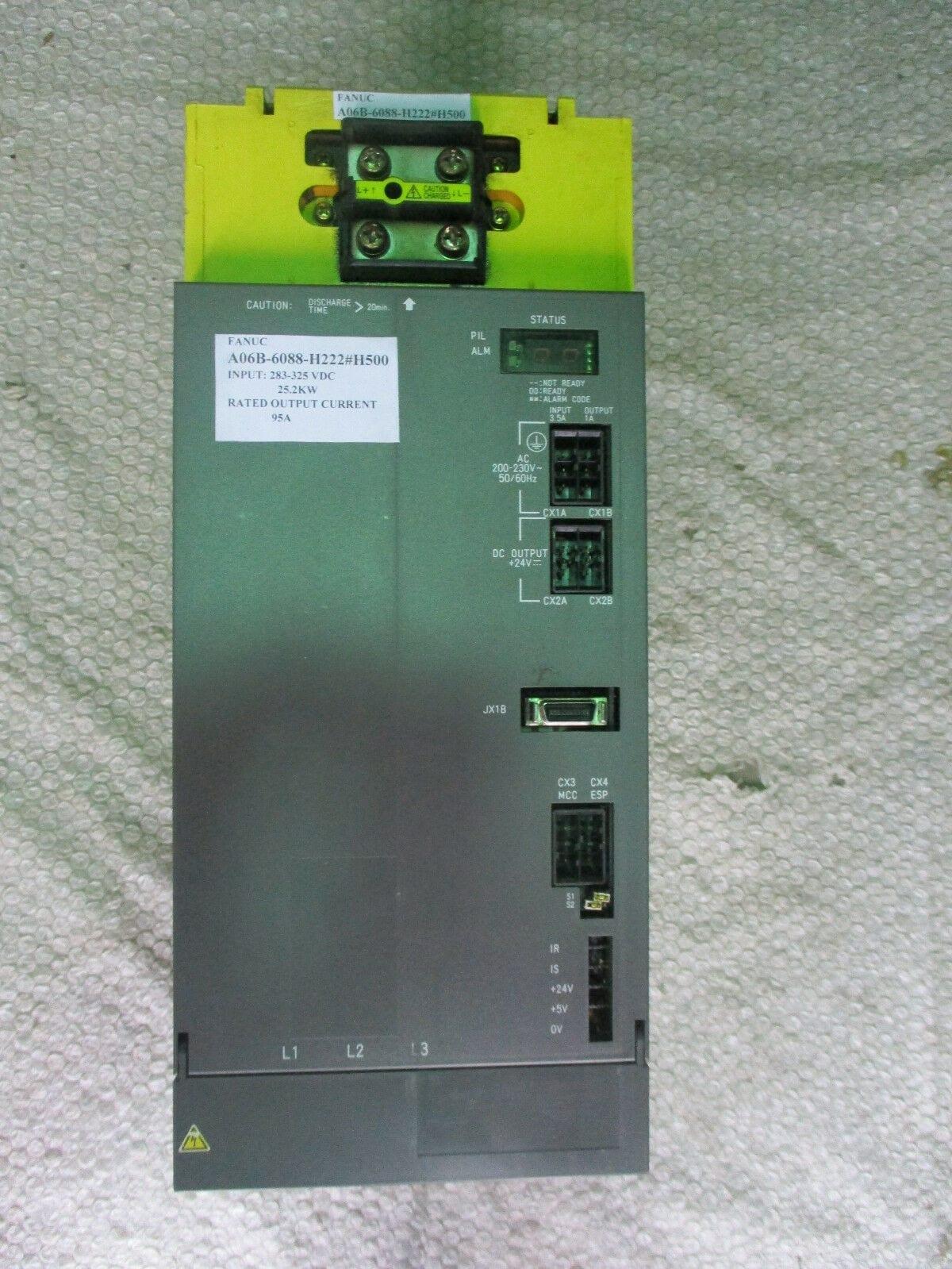 Fanuc A06B-6088-H222#H500 Power Supply Module A06B-6088-H222 25 2kW 95A  *Tested*