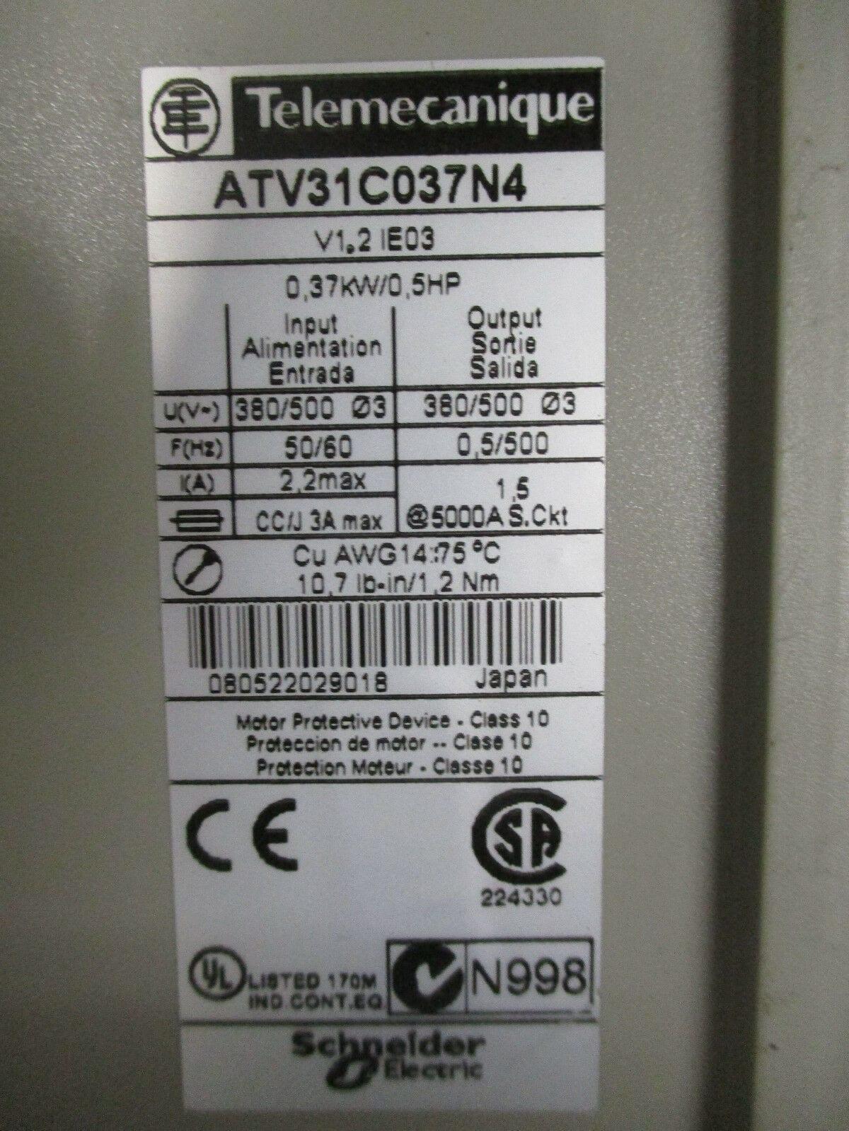 Telemecanique ATV31C037N4 Altivar 31 AC Drive 380/500VAC 0 5HP/0 37kW  *Tested
